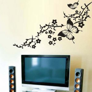 butterfly flower branch Decor Wall Sticker wall decal 39&quot;*17&quot;