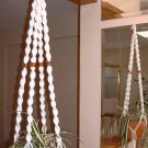 Macrame Plant Hanger WHITE 4 WALNUT BEADS