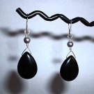 ONYX TEARDROP GRAY PEARL Sterling Silver Earrings 297