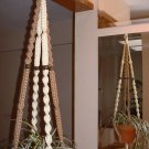 Macrame Plant Hanger IVORY and SAND 4 BROWN BEADS