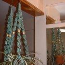LOT 2 Macrame Plant Hangers SAGE GREEN TAN BEADS