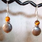 GRAY PEARL TIGER EYE Sterling Silver Earrings 500