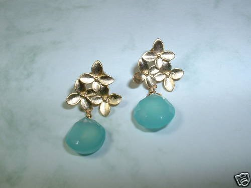 CHERRY BLOSSOMS PERUVIAN BLUE CHALCEDONY Gold Earrings