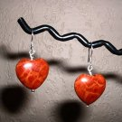 RED SPONGE CORAL HEART Sterling Silver Earrings 236