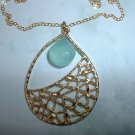 CHALCEDONY GOLD TEAR DROP 14K GOLD FILLED NECKLACE 559