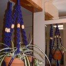 LOT 2 Macrame Plant Hangers PURPLE TAN BEADS
