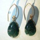 MOSS AGATE XL 14K GOLD FILLED Earrings 497