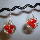 BIRD NEST EARRINGS RED CORAL Silver Earrings 516