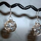 BIRD NEST EARRINGS GRAY PEARL Silver Earrings 514