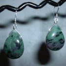 RUBIY ZOISITE TEARDROP Sterling Silver Earrings 408