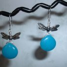 SKY BLUE JADE TEARDROP Sterling Silver Earrings 507