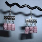 PINK RHODOCHROSITE Sterling Silver Earrings 323