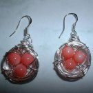 BIRD NEST EARRINGS PINK CORAL Silver Earrings 515