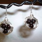 BIRD NEST EARRINGS RED GARNET Silver Earrings 514