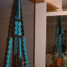 Macrame Plant Hanger TURQUOISE and BLACK 8 BLACK BEADS