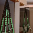 Macrame Plant Hanger BLACK and PARROT 8 BLACK BEADS