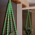 Macrame Plant Hanger PARROT GREEN 4 TAN BEADS