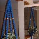 Macrame Plant Hanger ROYAL BLUE 4 TAN BEADS
