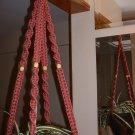 Macrame Plant Hanger ROSE 4 TAN BEADS