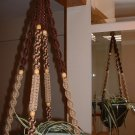 Macrame Plant Hanger COFFEE and SAND 8 TAN BEADS