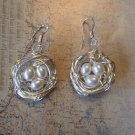 BIRD NEST EARRINGS WHITE PEARLS Sterling Silver