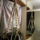 Macrame Plant Hanger VANILLA and SAND 4 TAN BEADS