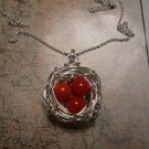 BIRD NEST RED CORAL NECKLACE Sterling Silver