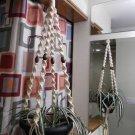 Macrame Plant Hanger VANILLA 4 WALNUT BEADS