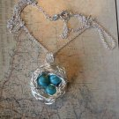 BIRD NEST TURQUOISE NECKLACE Sterling Silver