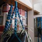 LOT 2 Macrame Plant Hangers TURQUOISE TAN BEADS