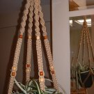 Macrame Plant Hanger SAND 12 TAN and WALNUT BEADS