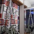 Macrame Plant Hanger PLATINUM 4 BROWN BEADS