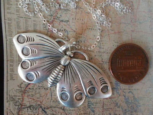 Large Butterfly Necklace Sterling Silver