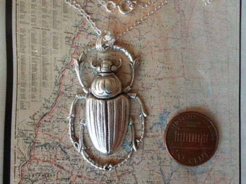 Egyptian SCARAB BEETLE Necklace Sterling Silver