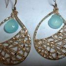 CHALCEDONY GOLD TEAR DROP GOLD Earrings 559