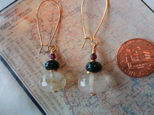CHERRY QUARTZ MOSS AGATE GARNET GOLD Earrings 21