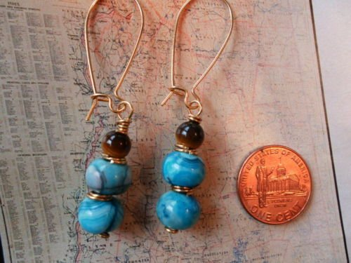 BLUE AGATE AND TIGER EYE GOLD Earrings 20