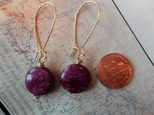 PURPLE LACE JASPER COIN GOLD Earrings 19
