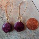 PURPLE LACE JASPER COIN GOLD Earrings 19