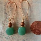 GREEN AVENTURINE GOLD SPONGE CORAL GOLD Earrings 17