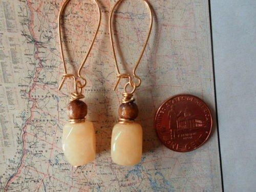 YELLOW AVENTURINE GOLD SPONGE CORAL GOLD Earrings 17