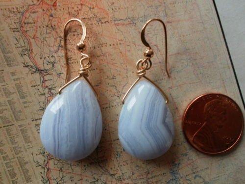 BLUE LACE AGATE 14K GOLD FILLED Earrings 11
