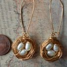 BIRD NEST EARRINGS White Fresh Water PEARLS
