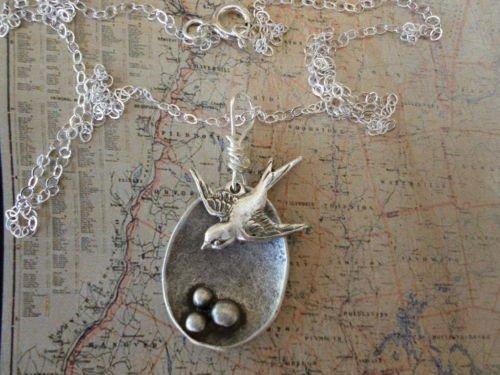 Sparrow Bird Nest MAMA Bird Necklace Sterling Silver