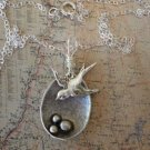 Sparrow Bird Nest MAMA Bird Necklace Sterling Silver
