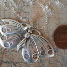 Large Butterfly Necklace  Silver