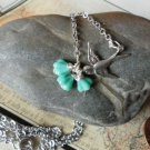 FLYING BIRD NECKLACE TURQUOISE FLOWER BEADS IN SILVER BRIDAL