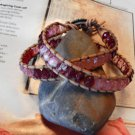 WRAP TAN LEATHER BRACELET CHERRY BLOSSOMS CZECH FIRE POLISHED BEADS