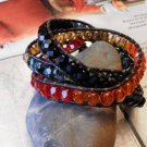 Wrap Leather Bracelet FIRE and WATER Czech Glass Beads Faceted Fire Polished