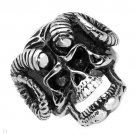 TWO TONE STAINLESS STEEL SKULL RING MEN'S $105